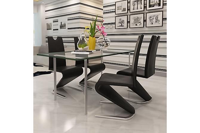 Matstolar 4 st svart konstläder - Svart - Möbler - Stolar - Matstolar & köksstolar