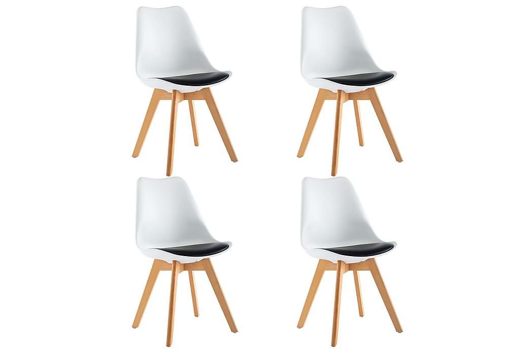 Matstolar 4 st vit och svart konstläder - Vit - Möbler - Stolar - Matstolar & köksstolar