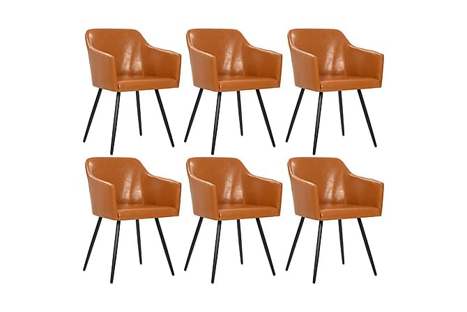 Matstolar 6 st brun konstläder - Brun - Möbler - Stolar - Matstolar & köksstolar