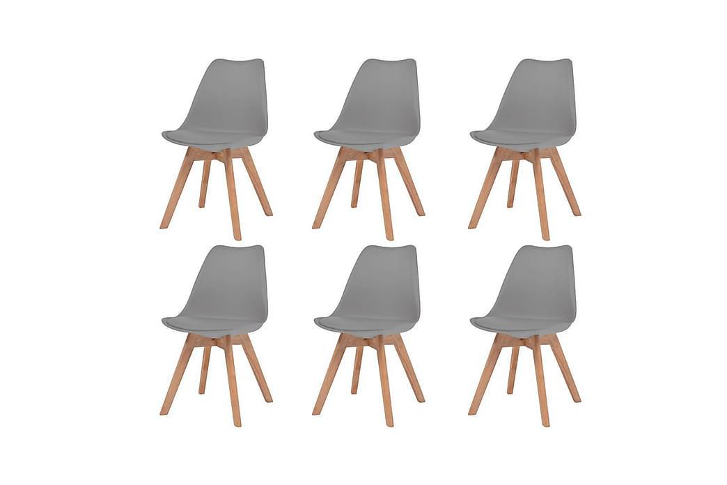 Matstolar 6 st grå konstläder - Grå - Möbler - Stolar - Matstolar & köksstolar