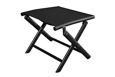 Hopfällbar fotpall aluminium 41x49,5x38 cm svart