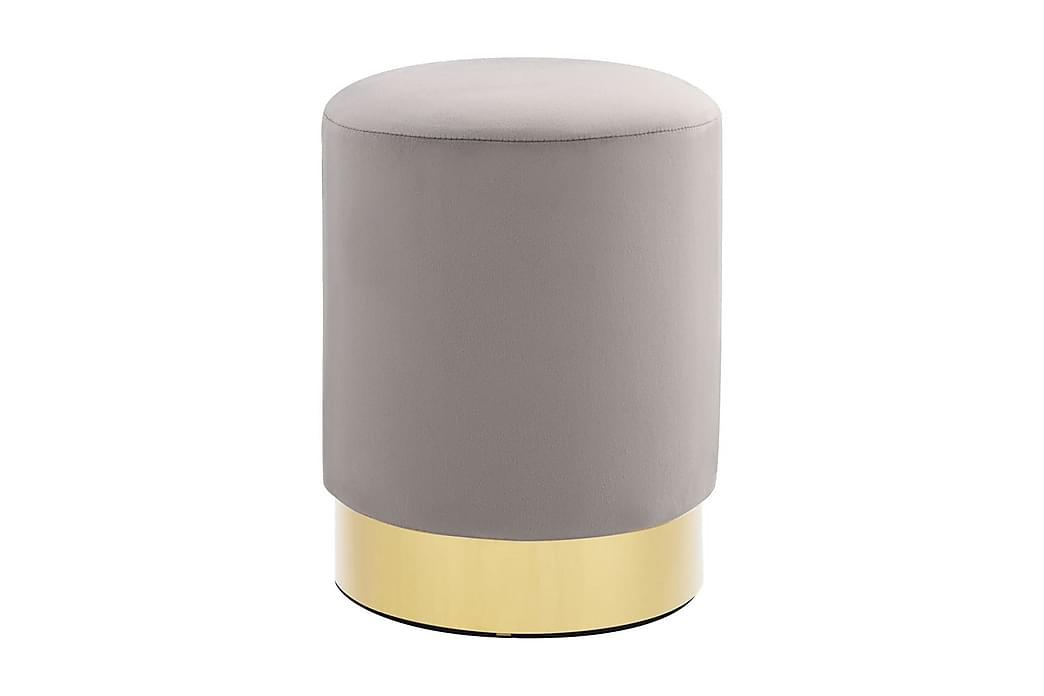 Pall ljusgrå och guld sammet - Grå - Möbler - Stolar - Pallar
