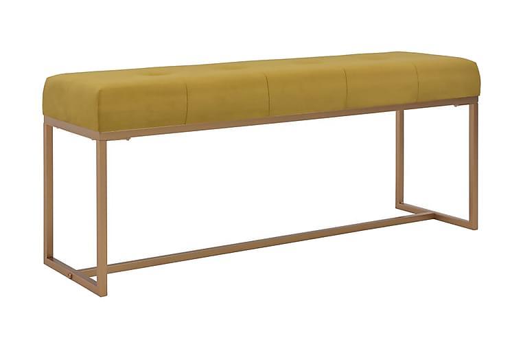 Bänk 120 cm senapsgul sammet - Gul - Inredning - Småmöbler - Sittbänk