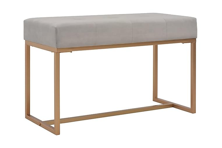 Bänk 80 cm grå sammet - Grå - Inredning - Småmöbler - Sittbänk