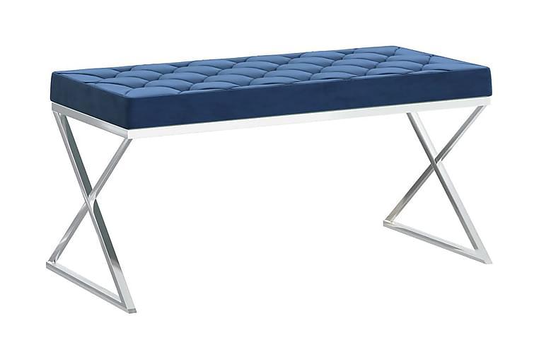 Bänk 97 cm blå sammet och rostfritt stål - Blå - Inredning - Småmöbler - Sittbänk