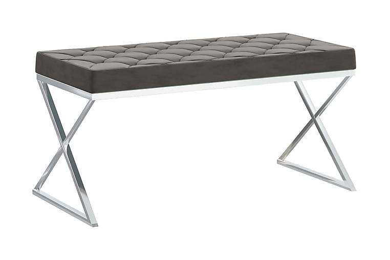 Bänk 97 cm grå sammet och rostfritt stål - Grå - Inredning - Småmöbler - Sittbänk
