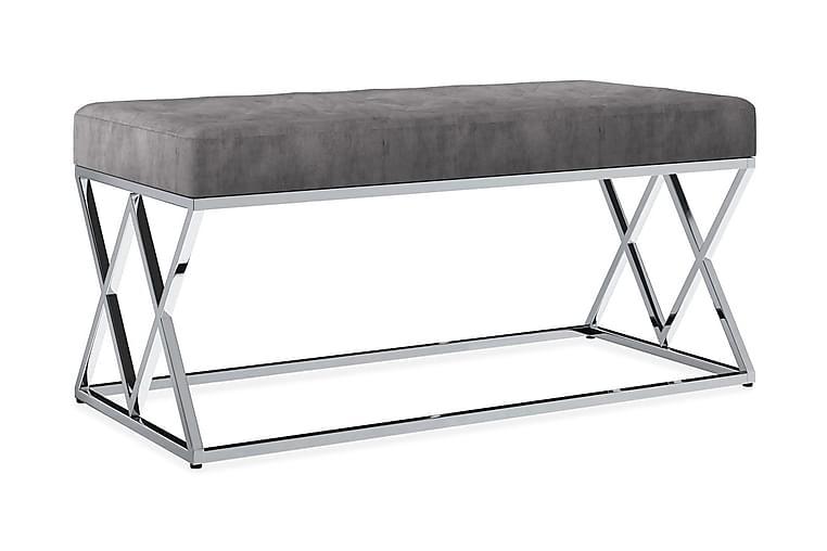 Bänk 97 cm grå sammetstyg och rostfritt stål - Grå - Inredning - Småmöbler - Sittbänk
