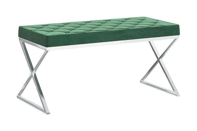 Bänk 97 cm mörkgrön sammet och rostfritt stål - Grön - Inredning - Småmöbler - Sittbänk
