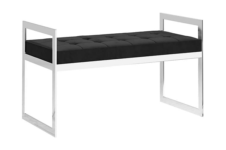 Bänk 97 cm svart sammet och rostfritt stål - Svart - Inredning - Småmöbler - Sittbänk