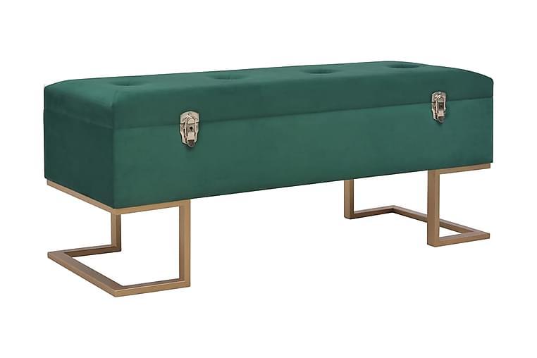 Bänk med förvaringsutrymme 105 cm grön sammet - Grön - Inredning - Småmöbler - Sittbänk