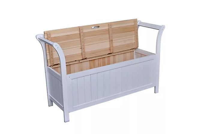 Förvaringsbänk 126x42x75 cm trä vit - Vit - Möbler - Stolar - Sittbänkar