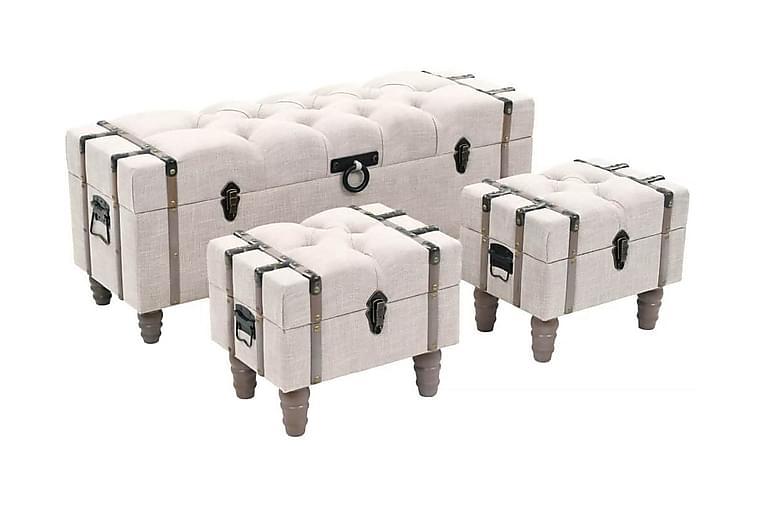 Förvaringsbänk set 3 delar massivt trä och stål 112x37x45 cm - Kräm - Inredning - Småmöbler - Sittbänk