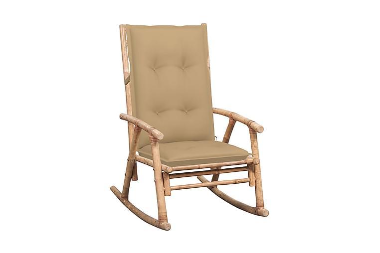 Gungstol med dyna bambu - Brun - Möbler - Stolar - Snurrstolar & Gungstolar