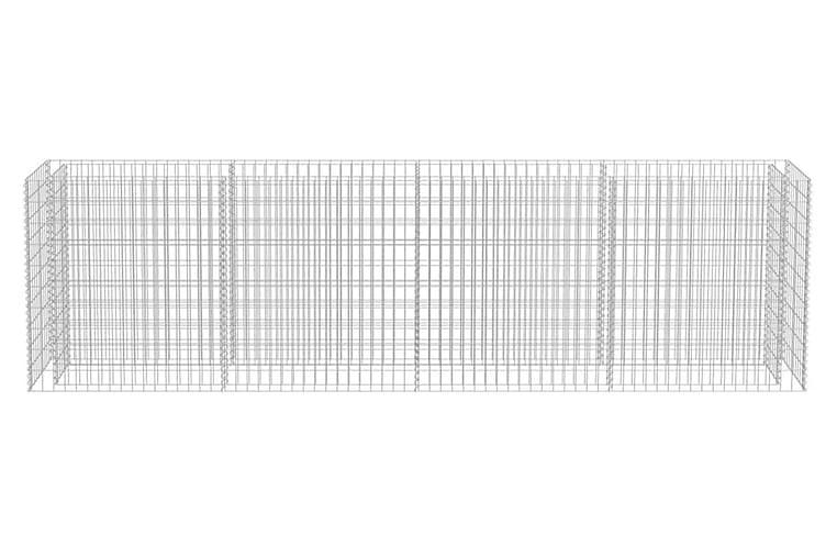 Planteringsgabion upphöjd galvaniserat stål 360x50x100 cm - Silver - Trädgård - Blomkrukor - Blomhylla & blomstativ