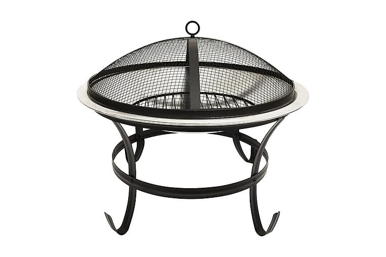 2-i-1 Eldstad grill och eldgaffel 56x56x49 cm rostfritt stål - Silver - Trädgård - Grillar - Grilltillbehör