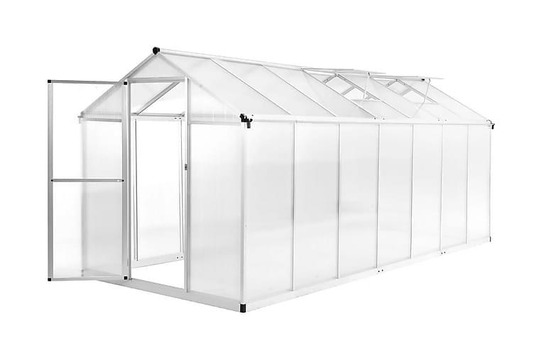 Växthus aluminium 421x190x195 cm 15,6 m³ - Transparent - Trädgård - Odling & trädgårdsskötsel - Växthus