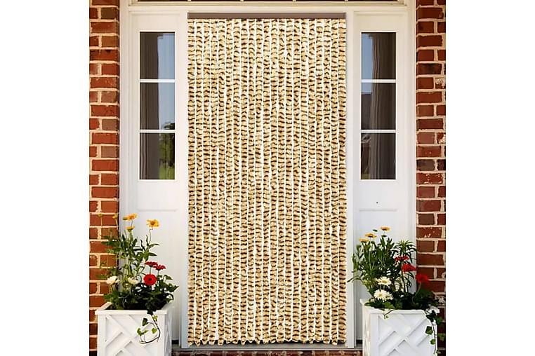 Insektsdraperi beige och brun 56x185 cm chenille - Beige - Trädgård - Trädgårdsdekoration & utemiljö - Myggnät