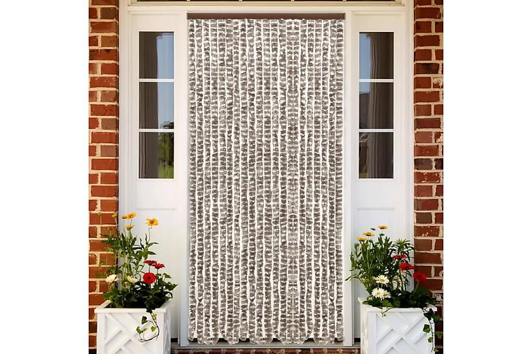 Insektsdraperi taupe och vit 56x185 cm chenille - Taupe - Trädgård - Trädgårdsdekoration & utemiljö - Myggnät