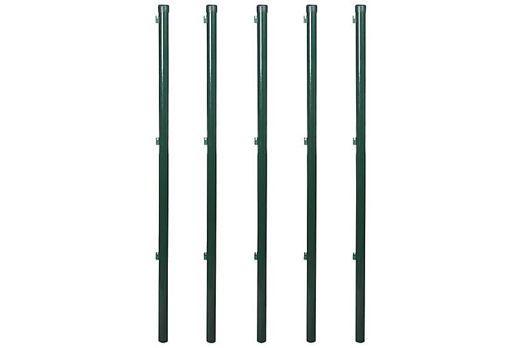 Flätverksstängsel med stolpar stål 0,8x15 m grön - Grön - Trädgård - Trädgårdsdekoration & utemiljö - Staket & grindar