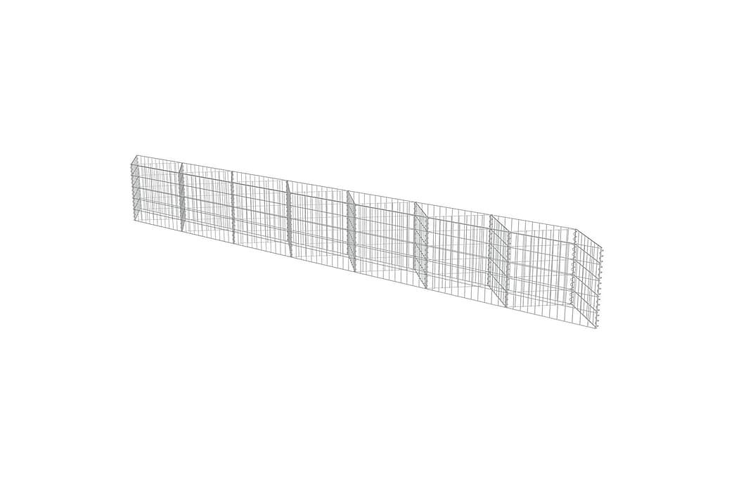 Gabionmur i galvaniserat stål 450x30x50 cm - Silver - Trädgård - Trädgårdsdekoration & utemiljö - Staket & grindar