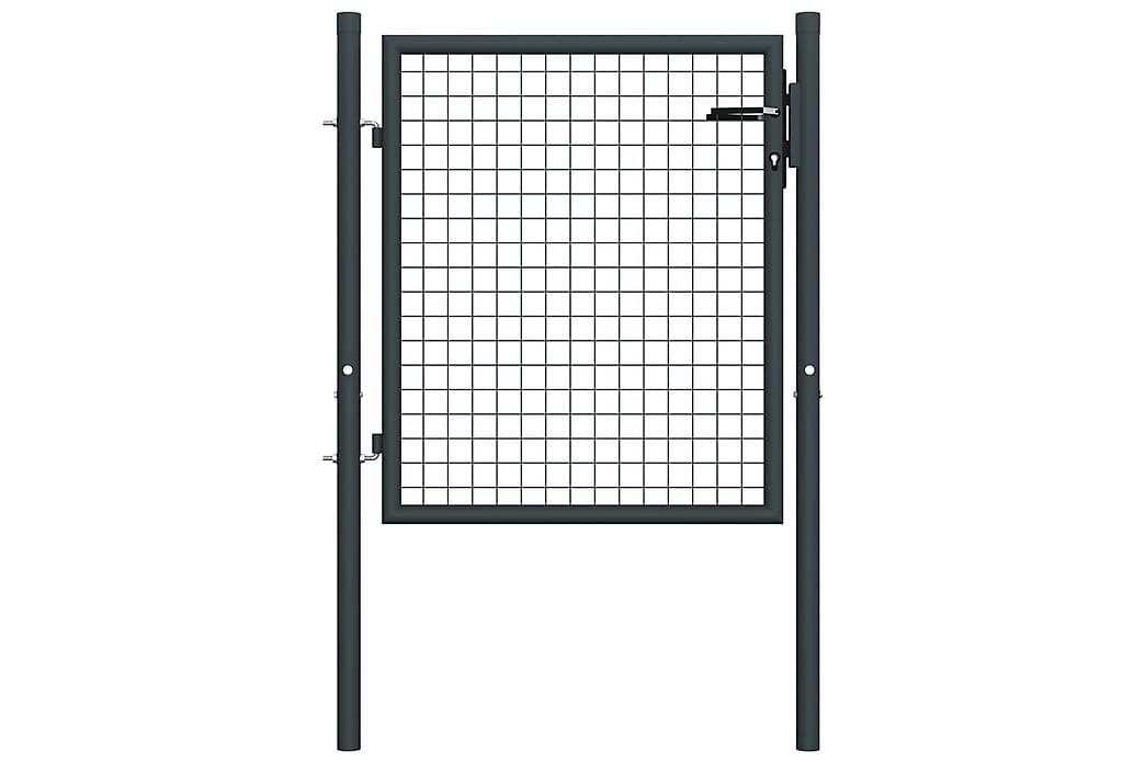Nätgrind för trädgård galvaniserat stål 100x175 cm grå - Grå - Trädgård - Trädgårdsdekoration & utemiljö - Staket & grindar