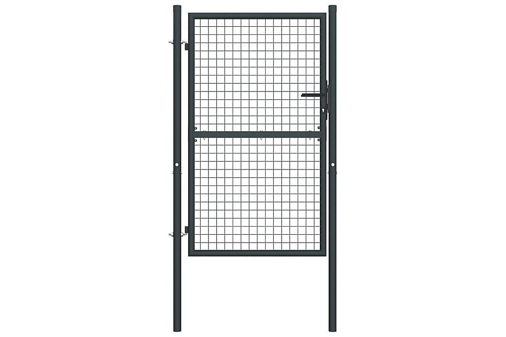 Nätgrind för trädgård galvaniserat stål 100x225 cm grå - Grå - Trädgård - Trädgårdsdekoration & utemiljö - Staket & grindar