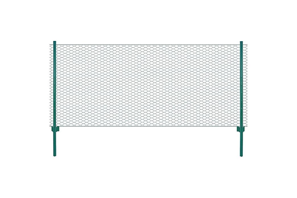 Nätstängsel med stolpar stål 25x0,5 m grön - Grön - Trädgård - Trädgårdsdekoration & utemiljö - Staket & grindar