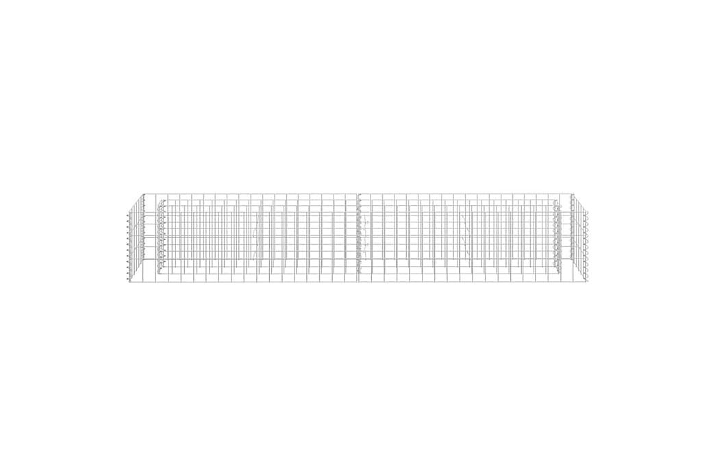 Planteringsgabion upphöjd galvaniserat stål 180x30x30 cm - Silver - Trädgård - Trädgårdsdekoration & utemiljö - Staket & grindar