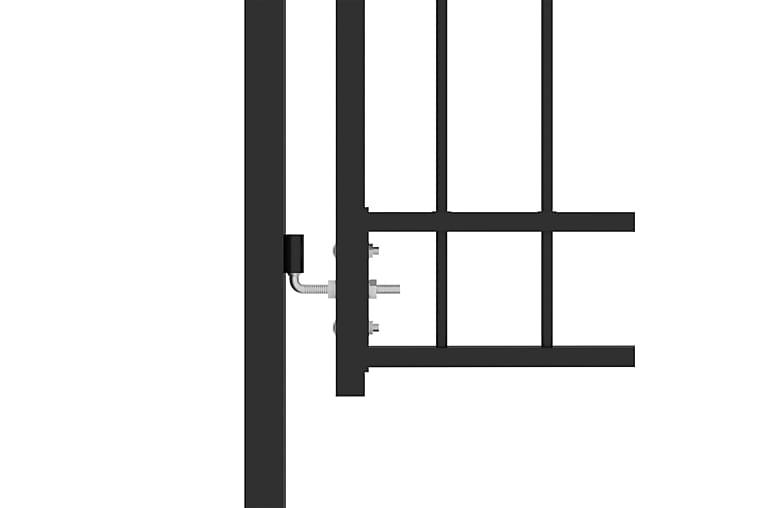 Trädgårdsgrind med spjut stål 100x200 cm svart - Svart - Trädgård - Trädgårdsdekoration & utemiljö - Staket & grindar