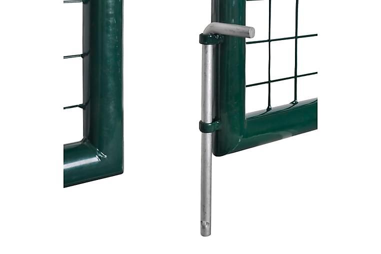 Trädgårdsgrind stål 306x150 cm grön - Grön - Trädgård - Trädgårdsdekoration & utemiljö - Staket & grindar