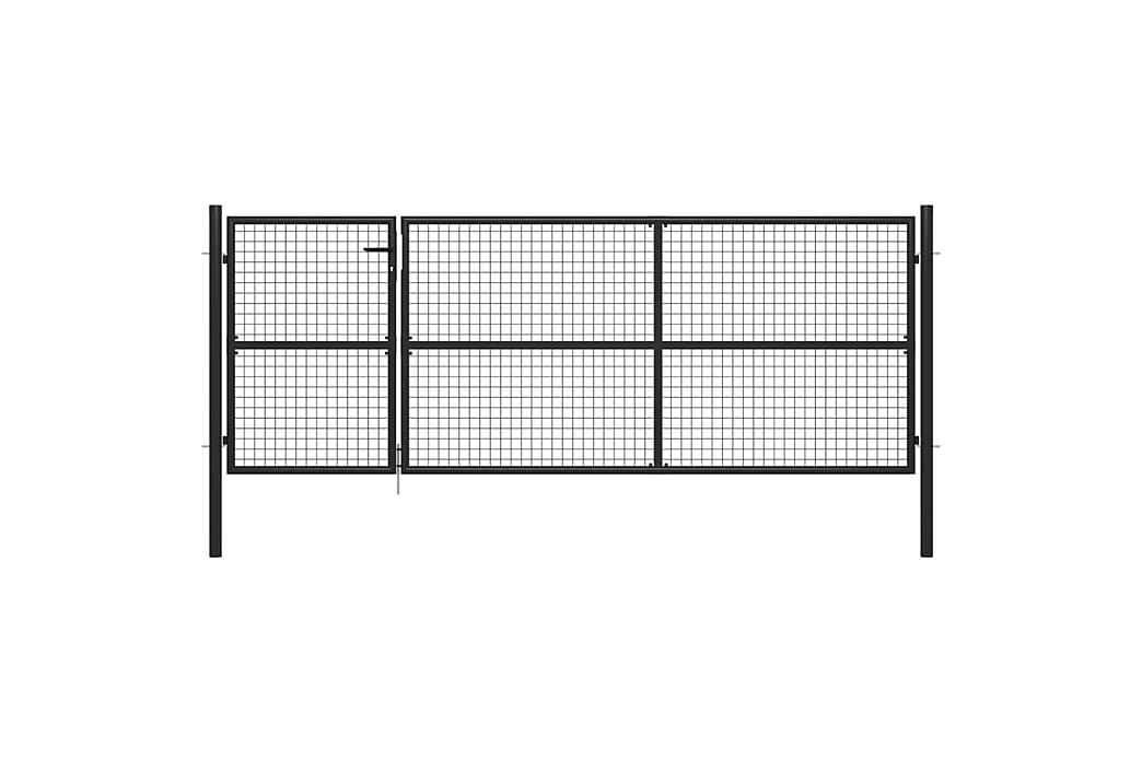 Trädgårdsgrind stål 350x125 cm antracit - Grå - Trädgård - Trädgårdsdekoration & utemiljö - Staket & grindar