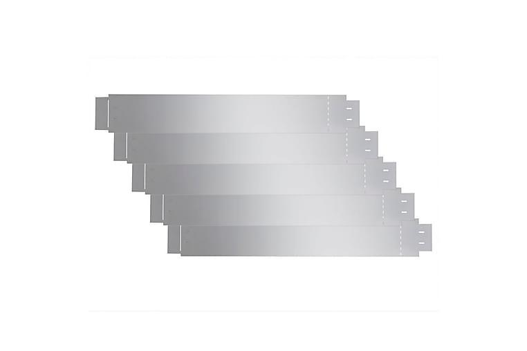 Trädgårdsstaket galvaniserat stål 100x15 cm set om 5 - Silver - Trädgård - Trädgårdsdekoration & utemiljö - Staket & grindar