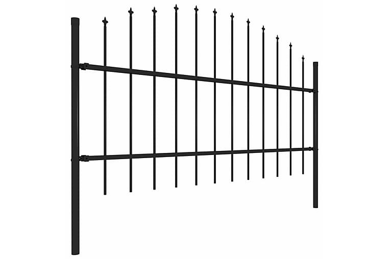 Trädgårdsstaket med spjuttopp stål (0,75-1)x10,2 m svart - Svart - Trädgård - Trädgårdsdekoration & utemiljö - Staket & grindar