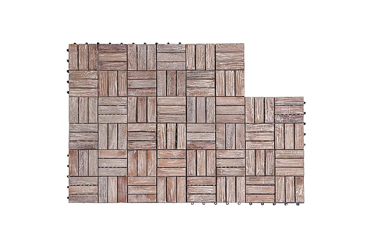 Trall 11 st 30x30 cm massivt återvunnet trä - Brun - Trädgård - Trädgårdsdekoration & utemiljö - Trall