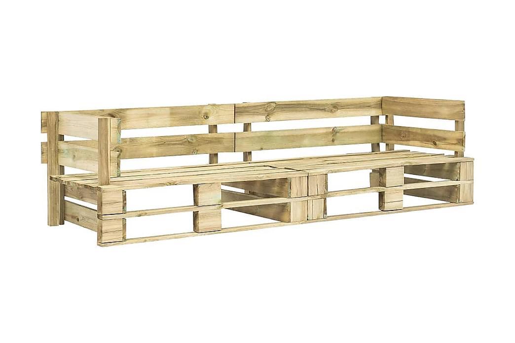 Pallsoffa 2-sits trä - Brun - Utemöbler - Balkongmöbler - Balkongsoffor