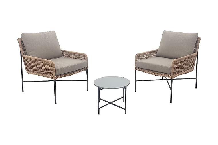 2-sits Loungegrupp Bicesse - Beige/Grå/Rotting - Utemöbler - Matgrupper utomhus - Cafégrupper