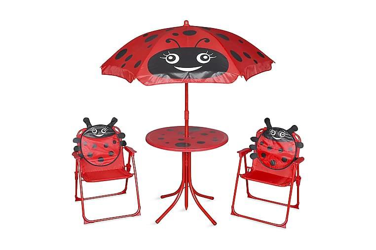Cafébord för barn med parasoll 3 delar röd - Röd - Utemöbler - Matgrupper utomhus - Cafégrupper