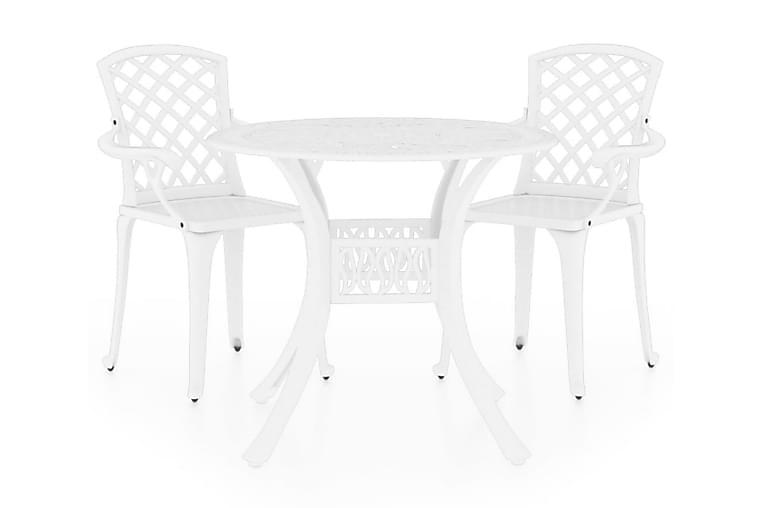 Caféset 3 delar gjuten aluminium vit - Vit - Utemöbler - Matgrupper utomhus - Cafégrupper