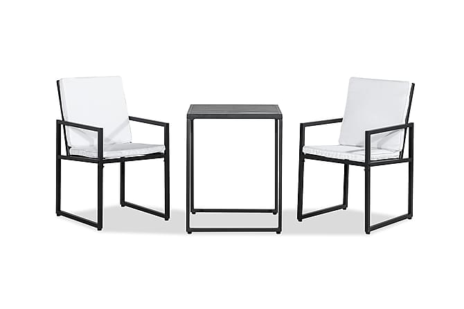 Caféset Silvia 58,5x58,5 + 2 Stolar - Svart - Utemöbler - Balkongmöbler - Matgrupper för balkong