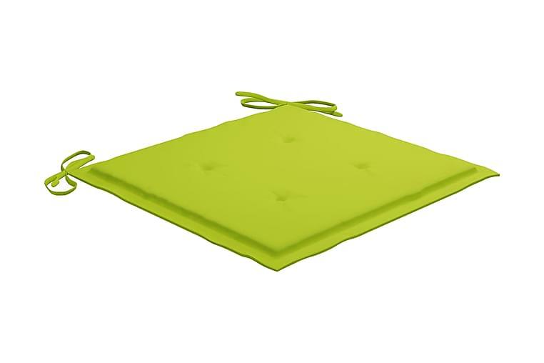 Dynor för trädgårdsstolar 4 st ljusgrön 50x50x4 cm tyg - Grön - Utemöbler - Dynor - Sittdynor