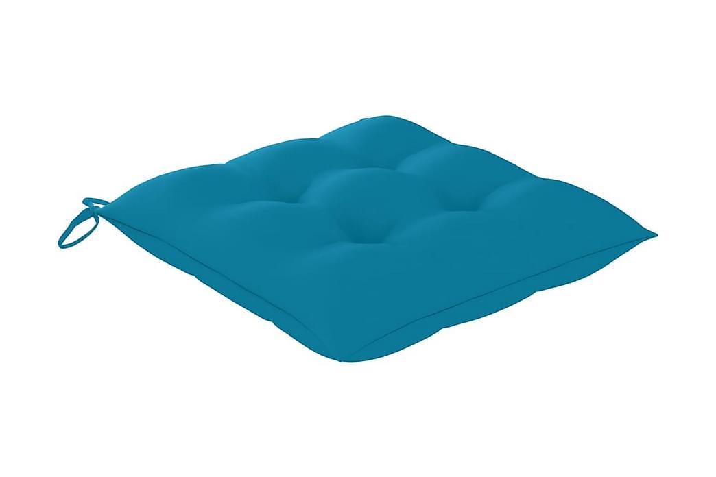 Stolsdynor 2 st blå 50x50x7 cm tyg - Blå - Utemöbler - Dynor - Sittdynor