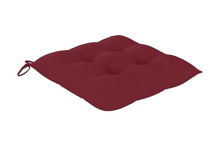 Stolsdynor 6 st vinröd 40x40x7 cm tyg - Röd - Utemöbler - Dynor - Sittdynor