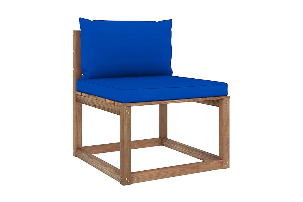 Mittensektion till pallsoffa med blåa dynor - Brun - Utemöbler - Loungemöbler - Moduler