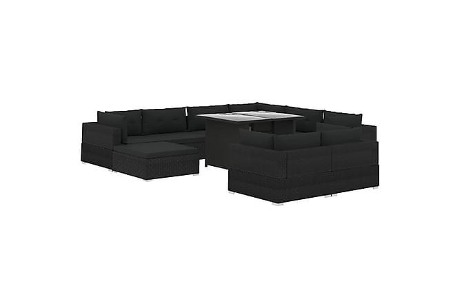 Loungegrupp för trädgården m. dynor 10 delar konstrotting - Svart - Utemöbler - Loungemöbler - Loungegrupper
