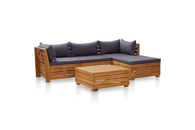 Loungegrupp för trädgården m dynor 5 delar akaciaträ - Grå - Utemöbler - Loungemöbler - Loungegrupper