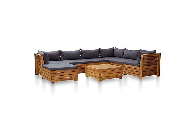 Loungegrupp för trädgården m dynor 8 delar akaciaträ - Grå - Utemöbler - Loungemöbler - Loungegrupper
