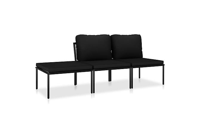 Loungegrupp för trädgården med dynor 3 delar svart PVC - Svart - Utemöbler - Loungemöbler - Loungegrupper