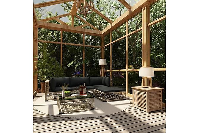 Loungegrupp för trädgården med dynor 5 delar konstrotting - Grå - Utemöbler - Loungemöbler - Loungegrupper