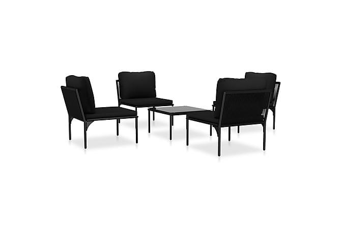 Loungegrupp för trädgården med dynor 5 delar svart PVC - Svart - Utemöbler - Loungemöbler - Loungegrupper