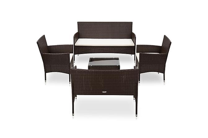 Loungegrupp för trädgården med dynor 6 delar konstrotting - Brun - Utemöbler - Loungemöbler - Loungegrupper